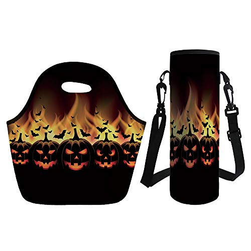 3D Print Neoprene lunch Bag with Kit Neoprene Bottle Cover,Vintage Halloween,Happy Halloween Image with Jack o Lanterns on Fire with Bats Holiday Decorative,Black Scarlet,for Adults -