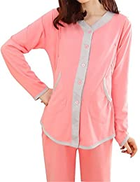 Women Elegant Long Sleeve Nursing Loungewear Maternity Pajamas Set