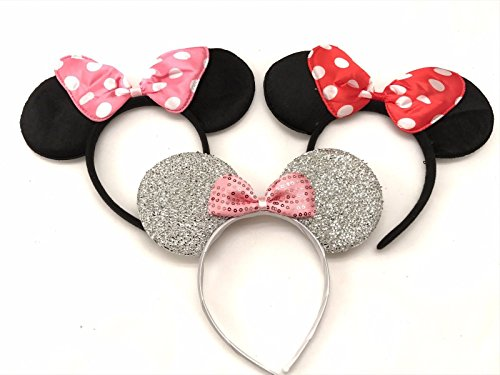 3 Minnie Mouse Black Red Pink Silver Bow-Mickey