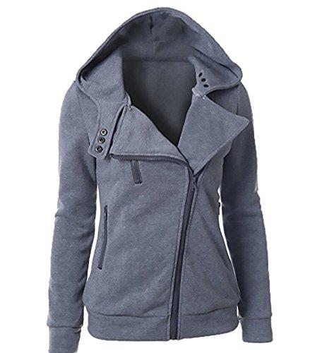 Lunga Donna Sweatshirt Hoodie Chiusura Cappotto Con Manica Felpa Grigio A Cerniera Cappuccio Giacca Asimmetrica 646rwqv