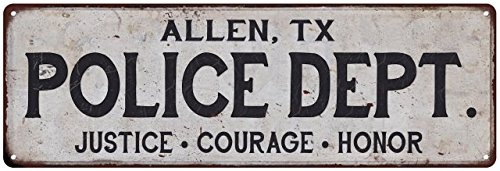 ALLEN, TX POLICE DEPT. Vintage Look Metal Sign Chic Decor Retro - Tx In Out And Allen