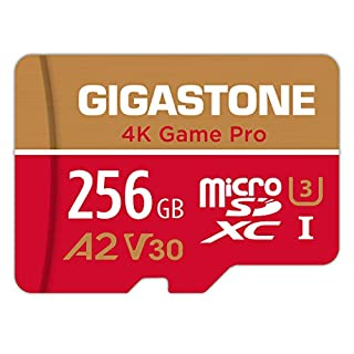 Gigastone 256GB Micro SD Card, 4K Game Pro, Nintendo Switch Compatible, A2 Run App, 4K Video Recording, R/W up to 100/60MB/s, Micro SDXC UHS-I A2 V30 Class 10