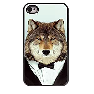 LCJ Wolf in Suit Pattern Aluminum Hard Case for iPhone 4/4S