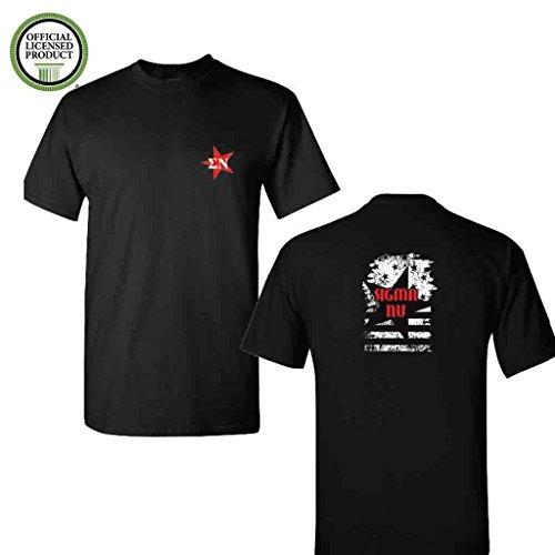 (Sigma Nu Short Sleeve Tshirt- Distressed Stars and Stripes #1- Great Shirts for Sigma Nu Rush- Black Tshirt (2XLarge))