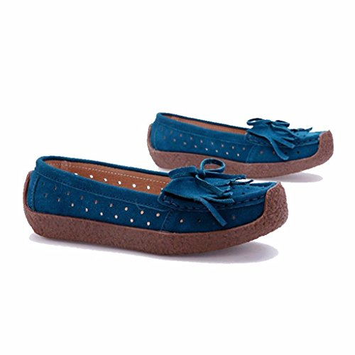 Moonwalker Women's Suede Leather Slip-On Loafers with Fringe Turqoise Zhrxfgf49