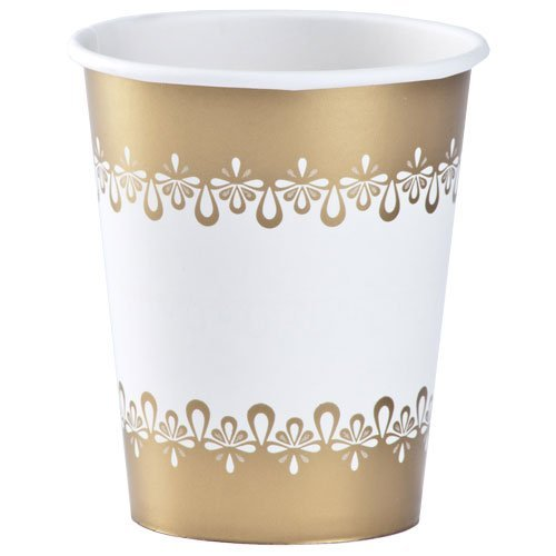 9 Oz Paper Party Cups (Hanna K. Signature Collection 24 Count Precious Paper Hot/Cold Cup, 9-Ounce,)