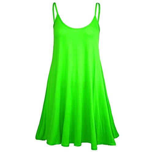 [Oops Outlet Women's Sleeveless Plain Strappy Floaty Flared Swing Dress Long Top Plus Size (US 12/14) Neon] (Neon Party Dresses)