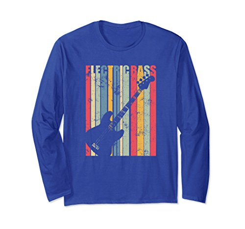 Unisex Vintage Guitar Shirt Electric Bass Guitar Gift for Men Large Royal Blue by Guitar Music Tees