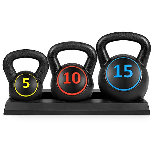 (Best Choice Products 3-Piece HDPE Kettlebell Exercise Fitness Weight Set w/ 5lb, 10lb, 15lb Weights, Base Rack - Black)