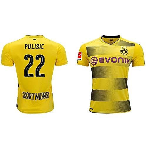 Christian Pulisic #22 Men's BORUSSIA DORTMUND 2017/2018 HOME YELLOW JERSEY (XL) - Borussia Dortmund Shirt