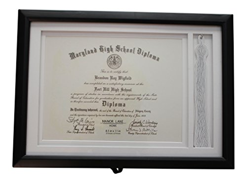 School Diploma Frame (Graduation Tassle Picture Frame for Diploma and Tassle – High School Diploma Frame – College Diploma Frame 11 x 14 Table Top Frame)