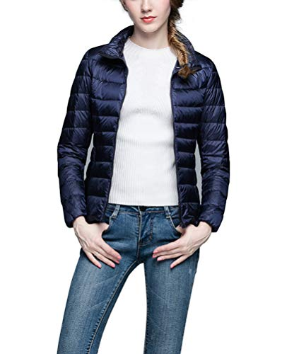 Lighweight Packable Womens Down Navy Stand Coat Collar Jacket Jacket Suncaya 5nXvFSWYW