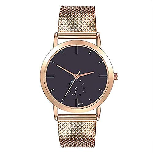 (FAVOT 2019 New Unisex High-End Business Wrist Watch Fashion Scale Round Dial Silicone Mesh Strap Casual Analog Quartz Watch for Women Men (Gold))