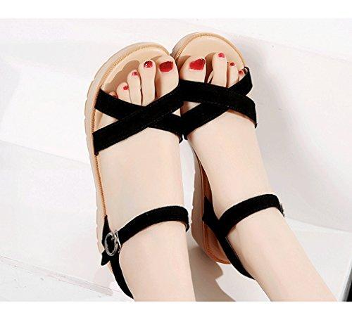 Schwarze Größe 37 Wedges Dream Farbe Sandals Leisure Roman Students Stiefeletten Sandals Schwarz SYwOUSq