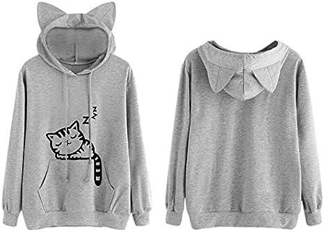 DOTU damska bluza z kapturem dla dziewcząt, nadruk z kotem, długa bluza z kapturem, ciepła bluza: Küche & Haushalt