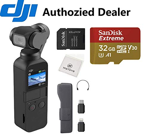DJI OSMO Pocket - 4K/60FPS Handheld 3-Axis Action Camera with 32 GB Extreme microSD Card