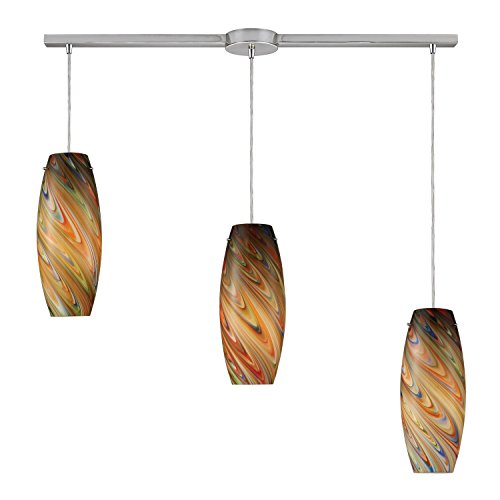 Elk Island Fixtures (Elk Lighting 10079-3L-RV Vortex 3 Light Contemporary Island Pendant Lighting Fixture, Satin Nickel, Rainbow Glass, B12719)