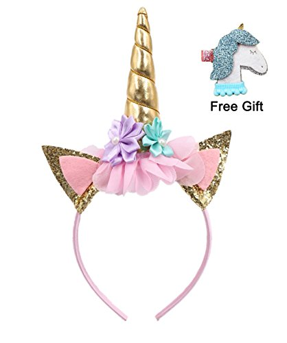Gold Glitter Unicorn Horn Headband with Hair Clip, Flowers Ears Headbands for Party Decoration or Cosplay Costume