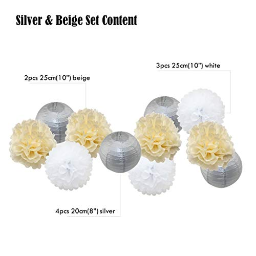 11Pcs/Set Gold/Silver Hanging Paper Ball Lanterns Tissue Paper For Christmas Party Decoration Wedding Decor Paper Crafts Silver Beige Set mixed size