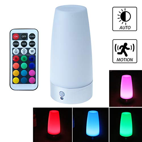 WRalwaysLX Remote Control Electrical Small Table Lamp Wireless PIR Motion Sensor Retro LED Night Light,USE 3x 1.5VAAA Battery,Powered Light for Living,Bedside,Kids Room,Bedroom