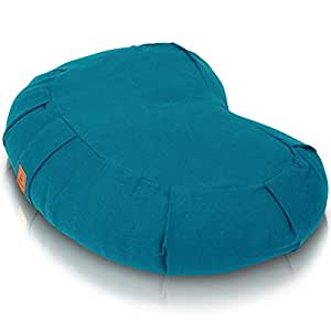 Seat Of Your Soul 2019 Meditation Cushion - Comfortable, Supportive & Durable Organic Cotton & Adjustable Buckwheat Filling | 7 Colors Crescent, Round Or Zabuton | Zafu Yoga Pillow, Buckwheat Crescent - Aqua, Buckwheat Crescent Moon