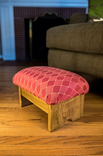 KR Ideas Padded Foot Stool Rococo Red 9″ Luxury Fabrics (Made in the USA) (Rococo Red- Maple Stain) Review