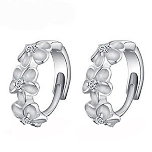 1 Pair Plum Flower Ear Button Clip Silver Plated Hoop Stud Earrings Wedding Women's Jewelly (Silver)