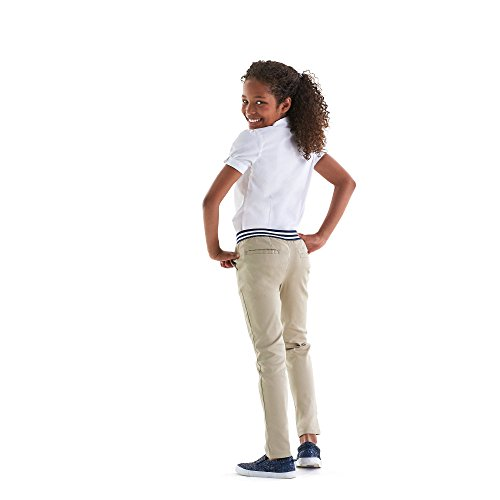French Toast Girls' Big Stretch Contrast Elastic Waist Pull-on Pant, Khaki, 7 by French Toast (Image #6)