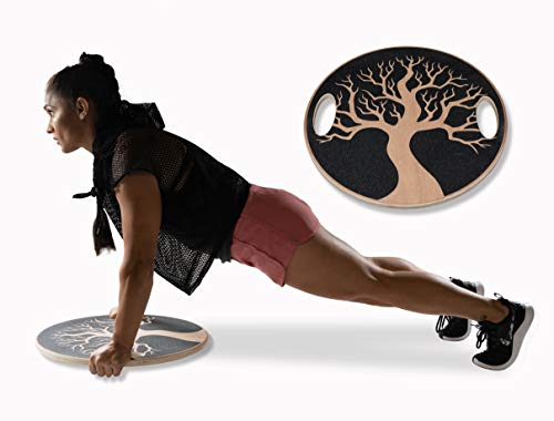 Lyfe Fitness - New! 20'' Diameter Wooden Wobble Balance Board - Exercise, Core, Stability, Strength, Fitness, Therapy, Yoga by Lyfe Fitness