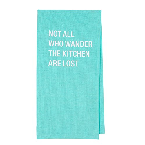 About Face Designs Not All Who Not All Who Wander The Kitchen are Lost Cotton and Linen Dish Towel, 26.5 x 19 Inch, Teal
