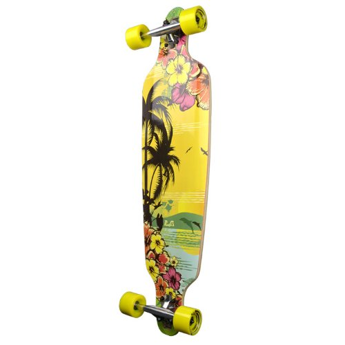 (Punked Yocaher Drop Through Complete Longboard Professional Speed Skateboard (Tropical Day))