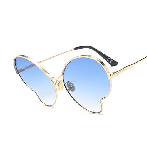 TIANLIANG04 Legierung Butterfly Rahmen Oversized Sonnenbrille Frauen Schmetterling Sonnenbrille Damen Big Farben Uv-Schutzbrille G411, C4 Gold Blau