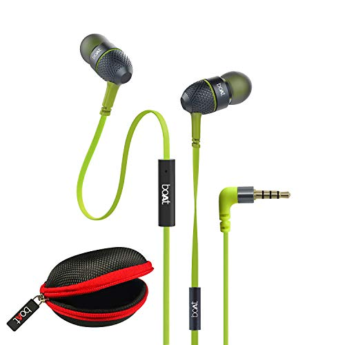 boAt BassHeads 225 in-Ear Wired Earphones with Super Extra Bass, Metallic Earbuds, Tangle-Free Cable, Gold Plated Angled Jack and Carry Case (Neon Lime)
