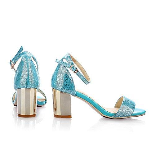 Amoonyfashion Gonnellino Da Donna Morbido Materiale Solido Fibbia Open Toe Sandali Blu
