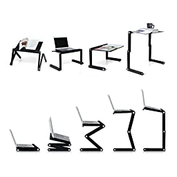 Pwr+ Portable Laptop-Table-Stand Vented Fully Adjustable-Ergonomic Mount-Ultrabook-Macbook Light Weight Aluminum-Black Bed Tray Desk Book Up to 17\