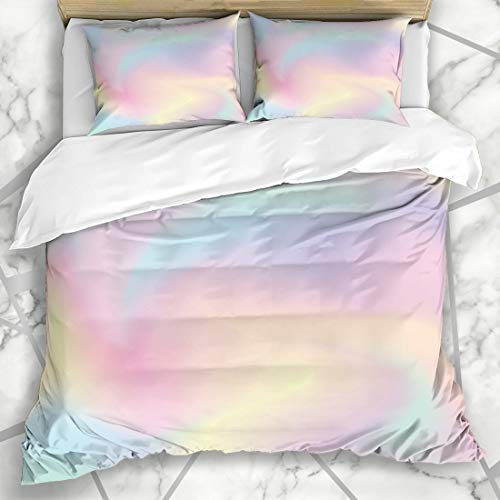 - Ahawoso Duvet Cover Sets Queen/Full 90x90 Light Watercolor Pattern Ombre Abstract Girly Sweet Blue Gradient Pastel Color Iridescent Rainbow Microfiber Bedding with 2 Pillow Shams