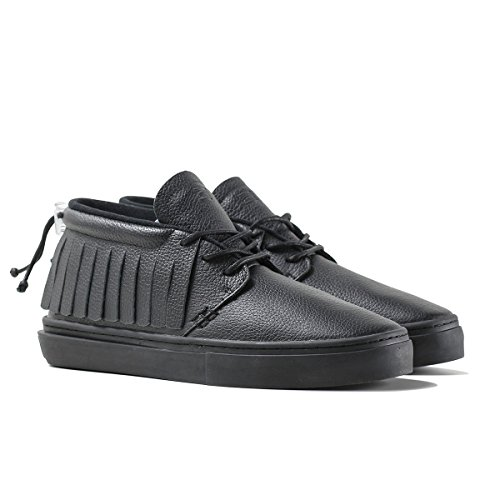 Clear Weather One-O-One Black Bird Mid Top Leather Sneaker Size 4 US Men, 5 US Women
