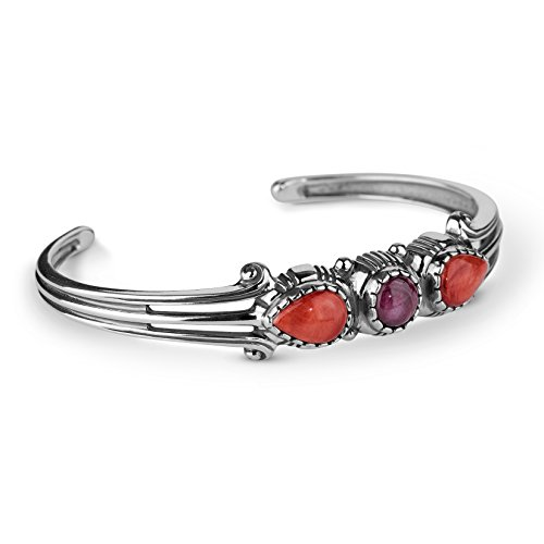 American West Sterling Silver Multi Gemstone Cuff Bracelet