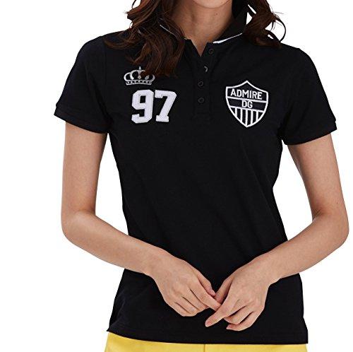 7439 LL ブラック DELSOL GOLF 襟ジャガード刺繍ポロシャツ ゴルフウェア レディース 鹿の子ポロシャツ 大きいサイズ LL ブラック 半袖鹿の子ポロシャツ