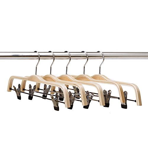 Pull Antique Facing - Wood Skirt and Pants Hangers By Ezihom|5-Pack|Light Wooden Clothes Hangers For Trousers and Fine Articles Of Clothing With Polished Hooks and Adjustable Clips|NaturalFinished Non Slip Hangers