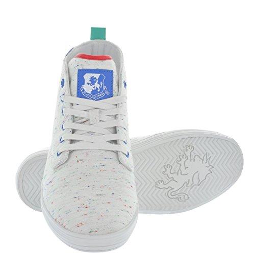 Vlado Footwear Mens Leon Mid Top Canvas Sneaker White Multi GnsMDz