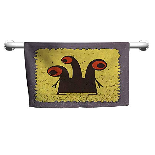 duommhome Abstract Soft Superfine Fiber Bath Towel Trippy Creature Heads and Large Eyes on Yellow Stamp Figure Illustration W10 x L39 Warm Taupe Yellow