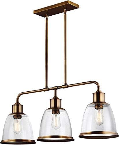Feiss F3019 3AGB Hobson Island Chandelier Lighting, Brass, 3-Light 36 W x 14 H 225watts