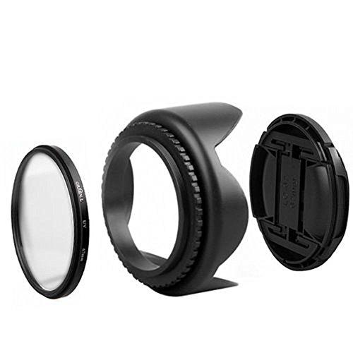 52mm UV Filter+Lens Cap+Lens Hood For Nikon D5500 D5300 D3200 D3300 D600 (Camcorder 52 Mm Lens)