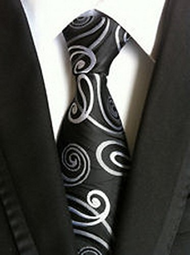 [MINDoNG Necktie Paisley Grey Black JACQUARD WOVEN Men's Tie GAG # 33250] (James Bond Womens Costumes)