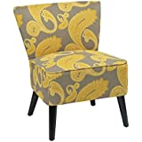 AVE SIX Apollo Upholsterred Armless Accent Chair With Wood Legs, Sweden  Dijon