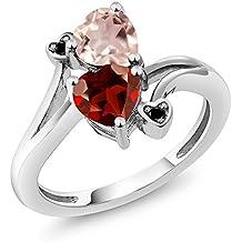 1.63 Ct Heart Shape Red Garnet Rose Rose Quartz 925 Sterling Silver Ring