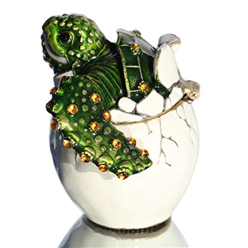 Waltz&F Collectible Turtle Figurines Hatching Baby Turtle from an Egg Metal Jewelry Box Hatching Egg Trinket Box ()