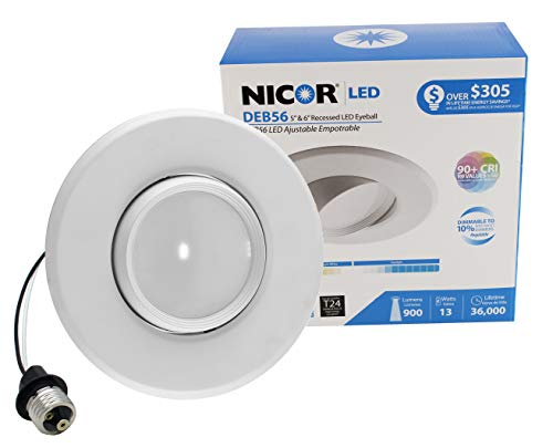 NICOR Lighting 5/6-Inch Dimmable 4000K Adjustable Eyeball LED Recessed Retrofit Downlight, White ()