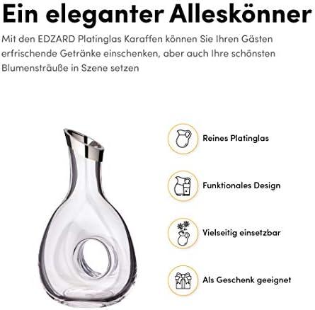 Edzard diametro 9 cm Caraffa in vetro soffiato a bocca con bordo in platino capacit/à 0,75 litri altezza 21 cm